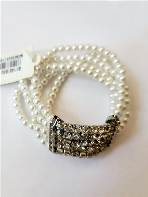 Pearl Crystal Beaded Stretch Bracelet B1145