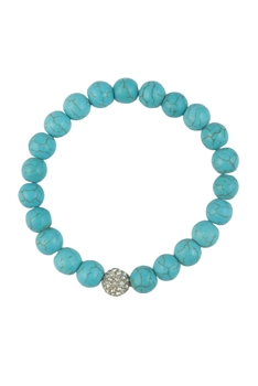 Crystal Accent Sphere Turquoise Beaded Bracelet B1282