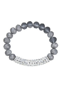 Crystal Beaded Stretch Bracelet B1318-Silver