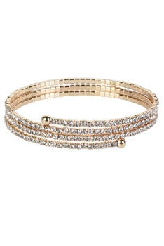 Crystal Accent Warp Around Bracelet B1375 - Gold