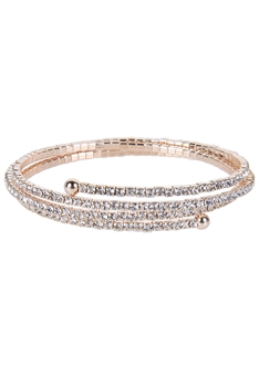 Crystal Accent Warp Around Bracelet B1375 - Rose Gold