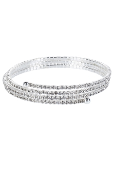 Crystal Accent Warp Around Bracelet B1375 - Silver