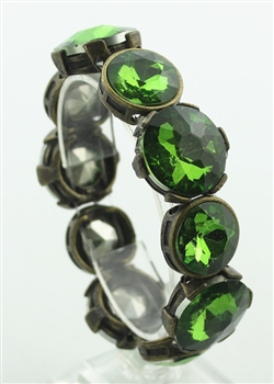 Mteal Large Gem Encrusted Bracelet B1383 - Green
