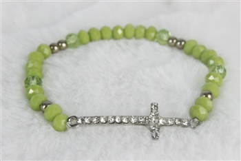 Rhinestone Cross Crystal Stitching Bracelet B1402 - Green