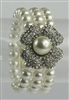 Flower Charm Multi Layered Pearl Bracelet B1504