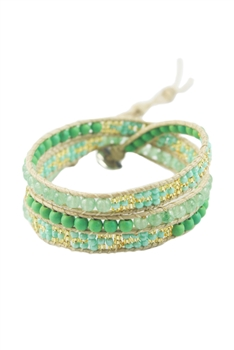Seed Bead Beaded Wrap Round Bracelet B1547 - Green