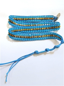 Gemstone Beaded Wrap Round Bracelet B1583 - Blue