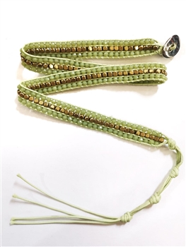 Gemstone Beaded Wrap Round Bracelet B1583 - Green