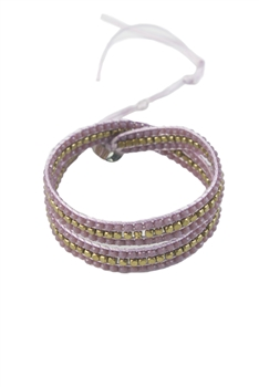 Gemstone Beaded Wrap Round Bracelet B1583 - Purple