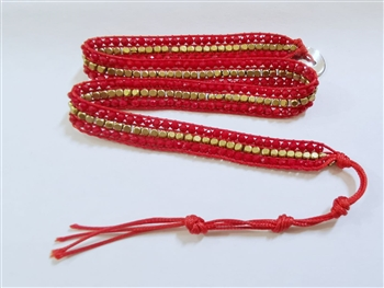 Gemstone Beaded Wrap Round Bracelet B1583 - Red
