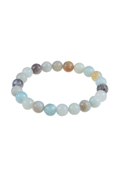 Gloss Amazonite Stone Stretch Bracelet B1587