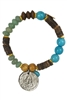 Wood Turquoise and Gemstone Coin Bracelets B1628