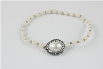 Pearl Crystal Bracelet B1632 - Champagne