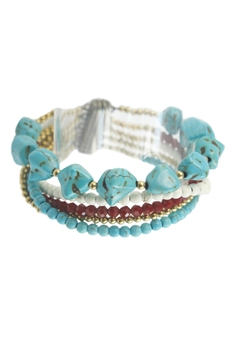 Gemstone and Crystal Bracelet B1656