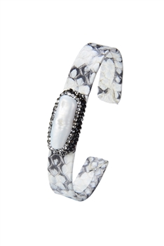 Snakeskin Leather Pave Crystal Natural Stone Bracelets B1739 - White