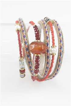 Crystal and Leatherette Bracelets B1777