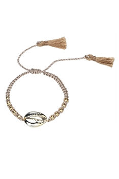Braided Rope Beaded Bracelet B1965 - Champagne