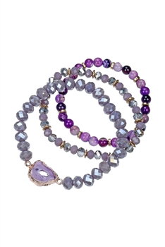 Natural Stone Crystal Bracelet Set B1973 - Purple