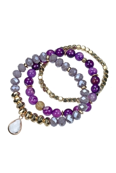 Crystal Bead Bracelet Set B1974 - Dog Tooth Amethyst