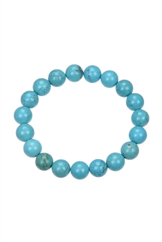 Crack Turquoise Stone Stretch Statement Bracelet B1976 - 10MM