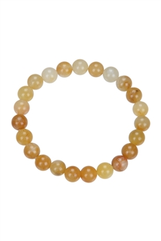 Golden Jade Stone Stretch Statement Bracelet B1993