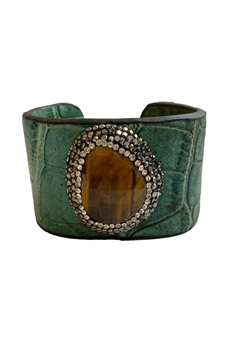 Leather Cuff Crystal Bracelets B1998