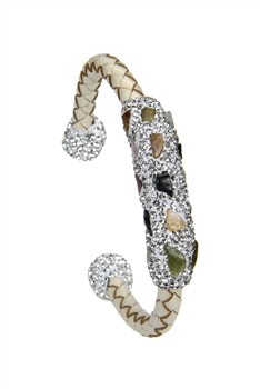 Braided  Leatherette Crystal Stone Bracelet B2009 - Tourmaline