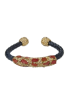 Fashion Stone Leatherette Bracelet B2010 - Red Turquoise