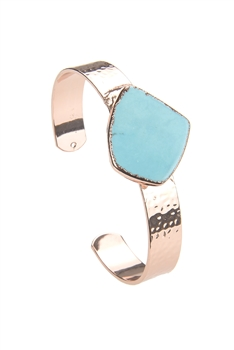 Turquoise Stone Metal Cuff B2011 - Rose Gold