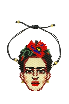 Frida Seed Bead Braided Bracelet B2030 - Red