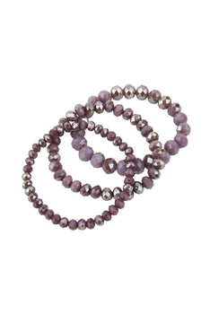 Simple Stretch Crystal Bracelets Set B2035 - Purple