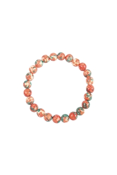 Composition Stone Stretch Bracelet B2039 - Orange