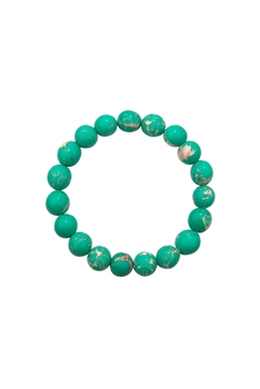 Green Emperor Stone Statement Stretch Bracelet B2057 - 10MM