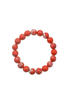 Red Emperor Stone Statement Stretch Bracelet B2057 - 10MM