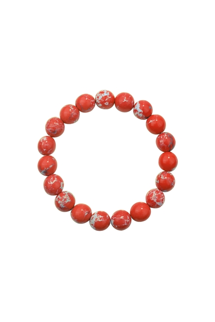 Red Emperor Stone Statement Stretch Bracelet B2057