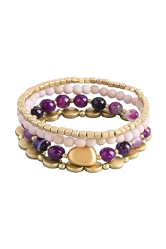 Natural Stone Bracelets Set B2060 - Dog Teeth Amethyst