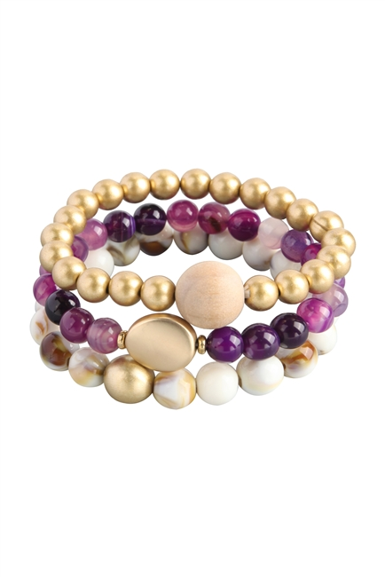 Natural Stone Bead Bracelets Set B2061