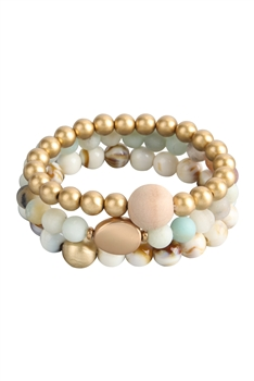 Natural Stone Bead Bracelets Set B2061 - Amazonite