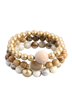 Natural Stone Bead Bracelets Set B2061 - Picture Jasper