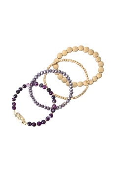 Natural Stone Bead Bracelets Set B2064 - Dog Teeth Amethyst
