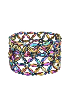 Crystal Hexagon Stretch Bracelets B2074- Multi