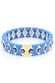 Against Evil Eyes Alloy Enamel Bracelet B2114 - Blue