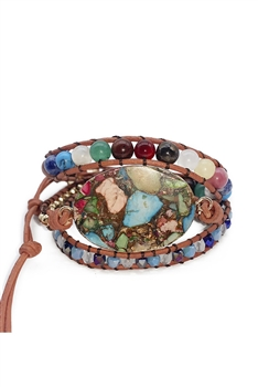 Multi-color Turquoise Wrap Bracelets B2116