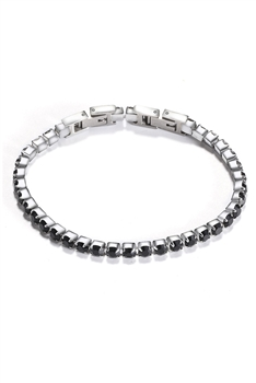 Zircon Stainless Steel Bracelet B2130 - Black