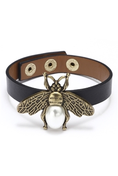 Alloy Bee Pu Leather Bracelets B2135 - Black