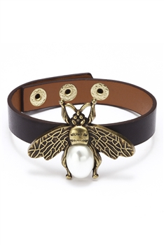 Alloy Bee Pu Leather Bracelets B2135 - Brown