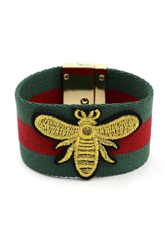 Embroidered Bee Bracelets B2137 - Green