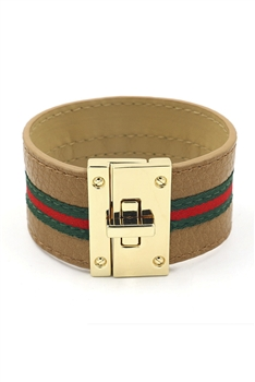 Pu Leather Stripe Bracelets B2138 - Brown