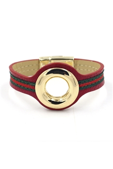 Gold Ring Striped Magnetic Bracelet B2139 - Red