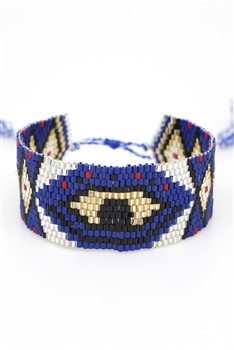 Against Evil Eye Seed Beads Bracelets B2144 - Navy